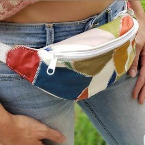 Vintage Fanny Pack Hip Waist Bag Colorblock 80s